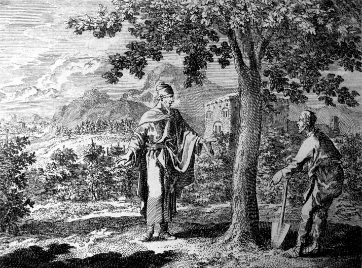 An etching by Jan Luyken illustrating Luke 13:6-9 in the Bowyer Bible, Bolton, England.