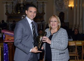 President of Malta together with Adrian Formosa, representing Joy Boys Għarb