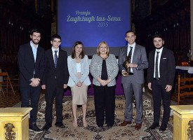 President of Malta together with all this year's finalists. L to R: David Camilleri representing Sliema Salesians, Nicholas Cassar, Nikita Mizzi, Adrian Formosa representing Joy Boys Għarb and Gabriel Cassar.